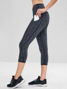 Heather Pocket Crop Gym Leggings - الرمادي الداكن L
