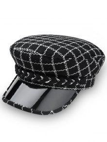 أنيق الأعلى منقوشة القبعة المسطحة - أسود