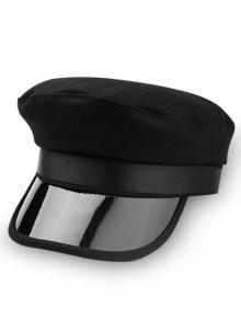 فريد لون الصلبة قبعة عسكرية - أسود