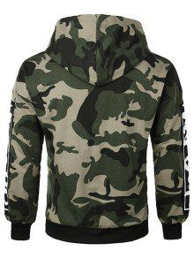 08abaf443d399 48% OFF] 2019 Casual Letter Applique Camo Hoodie In ARMY GREEN | ZAFUL
