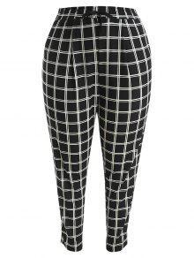 بالاضافة الى حجم سروال منقوش مستقيم - أسود 2x