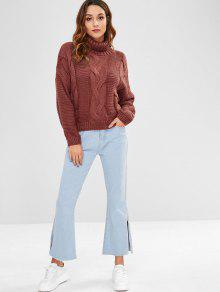 480e51432cc2 57% OFF  2019 Cable Knit Turtleneck Chunky Sweater In MAROON