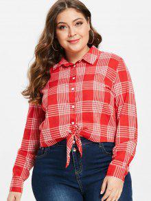 ZAFUL Tie Front Plaid زائد الحجم القميص - الحمم الحمراء 2x
