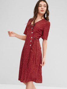 d7d640fdfa 24% OFF  2019 Polka Dot Button Down Wrap Dress In CHERRY RED