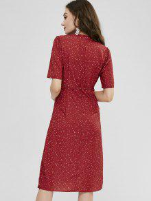 584d892dcf 30% OFF  2019 Polka Dot Button Down Wrap Dress In CHERRY RED