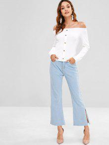 a719c3cce682f 2019 Buttoned Ribbed Off The Shoulder Top In WHITE XL