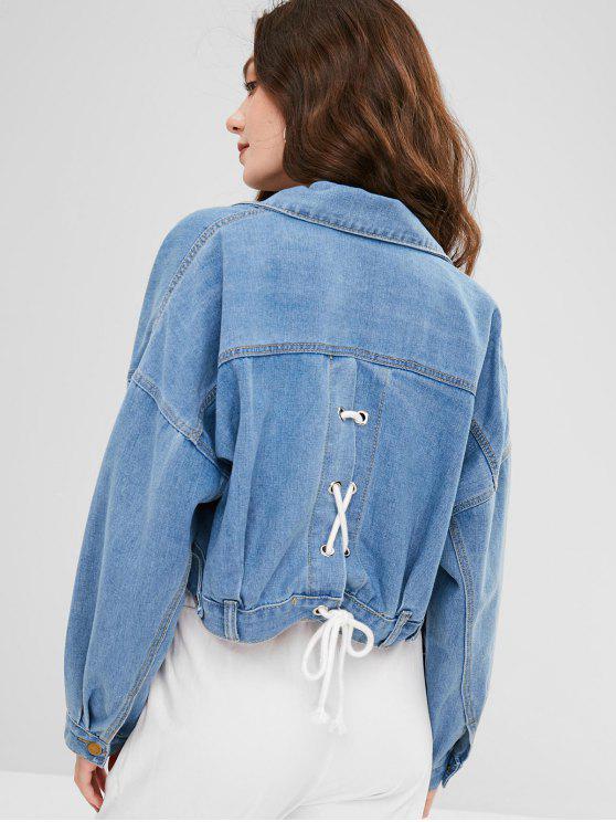 chic Pocket Lace-up Drop Shoulder Denim Jacket - DENIM BLUE ONE SIZE