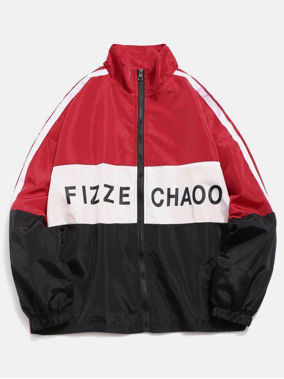 shops Color Block Letter Striped Lightweight Jacket - RED M