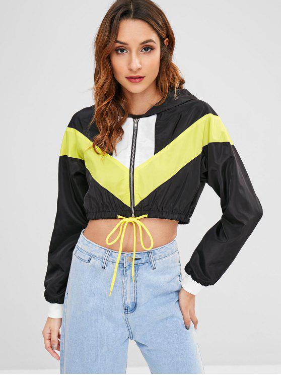 lady ZAFUL Cropped Zip Up Windbreaker Jacket - BLACK M