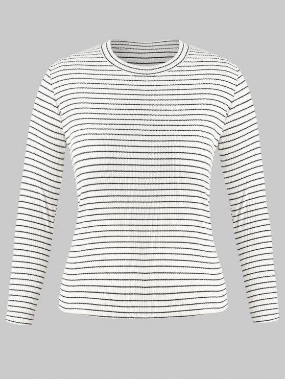 Plus Blanco Ribbed Stripes 2018 Size Top 3XZAFUL En UMSVGLpqz