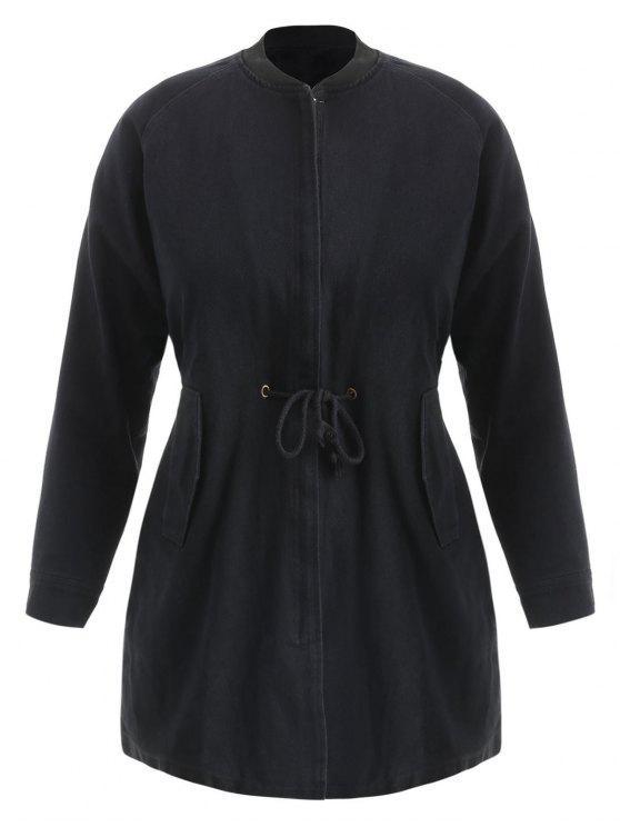 latest Drawstring Zip Up Plus Size Coat - BLACK 4X