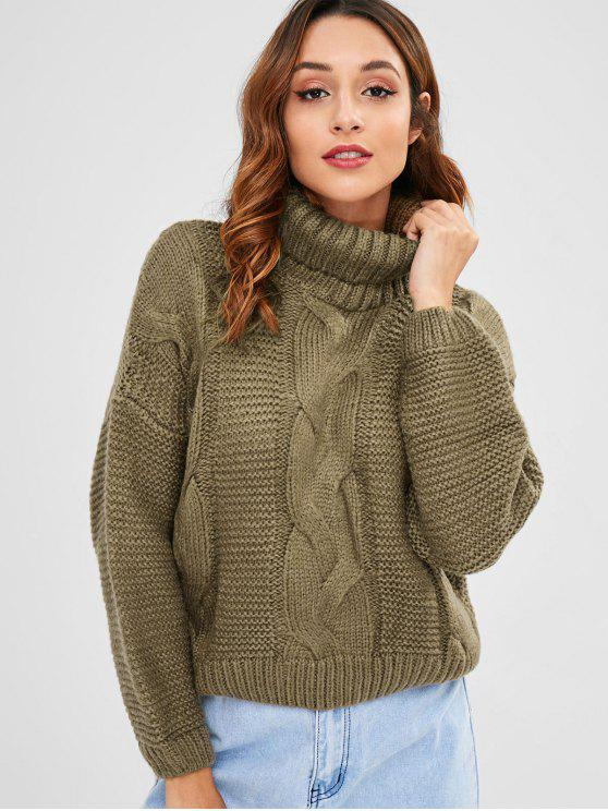 Cable Knit Turtleneck Chunky Sweater BEIGE KHAKI MAROON
