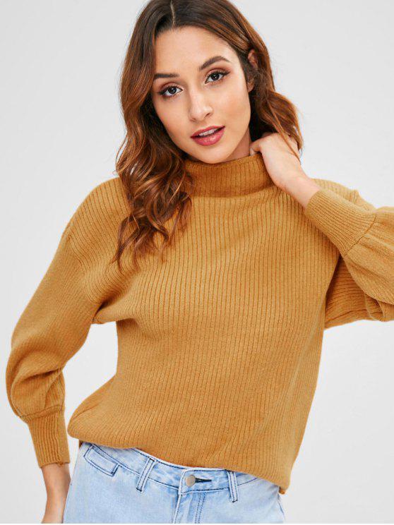 Gerippter Pullover mit hohem Kragen - Orange Gold Eine Größe