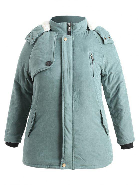 fashion Zip Up Plus Size Sheepskin Coat - CYAN OPAQUE 3X