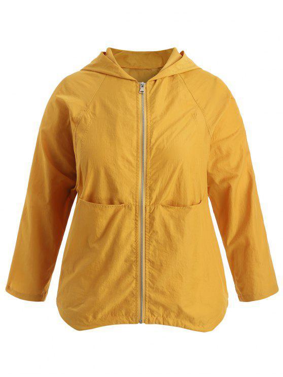 affordable Plus Size Raglan Sleeve Hooded Jacket - YELLOW 2X