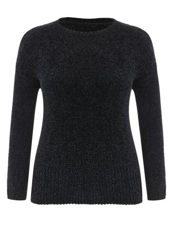 womens Plus Size Velvet Drop Shoulder Sweater - BLACK 2X