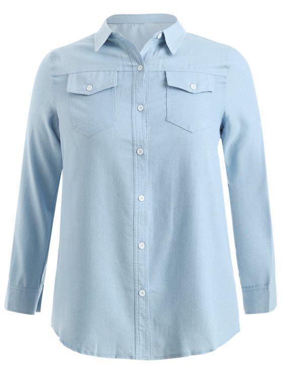 best service 8f5bd 77c08 Camicia Lunga Plus Size Con Tasche JEANS BLUE