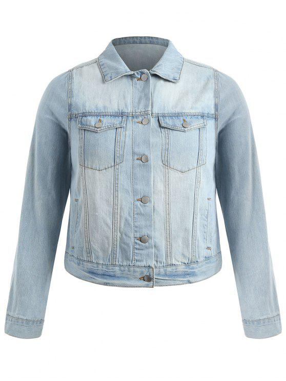 new Plus Size Light Wash Denim Jacket - LIGHT BLUE 2X