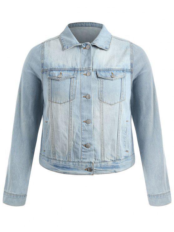 Veste au Lavage Léger de Grande Taille en Denim - Bleu Léger  3X