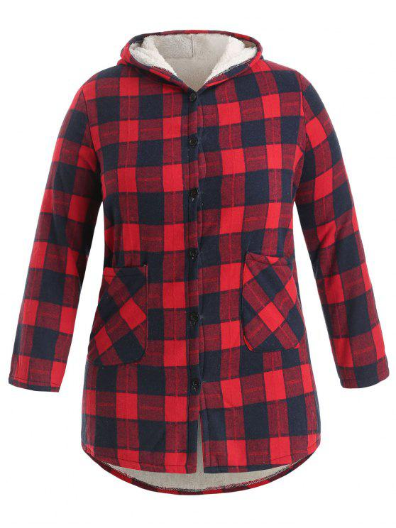 Button Up Plaid Plus Size Lammfell-Mantel - Lava Rot 3X