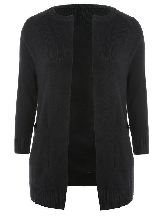 Más tamaño dos tonos Cardigan abierto - Negro 2X