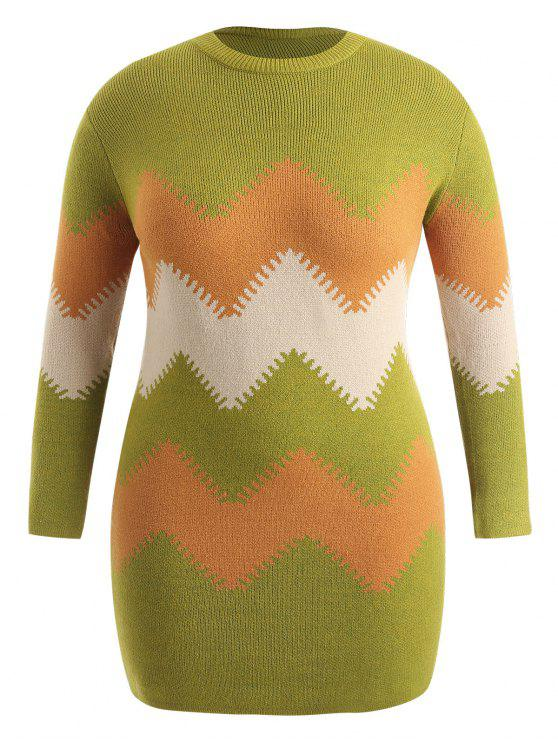 affordable Plus Size Zig Zag Longline Sweater - MULTI 2X