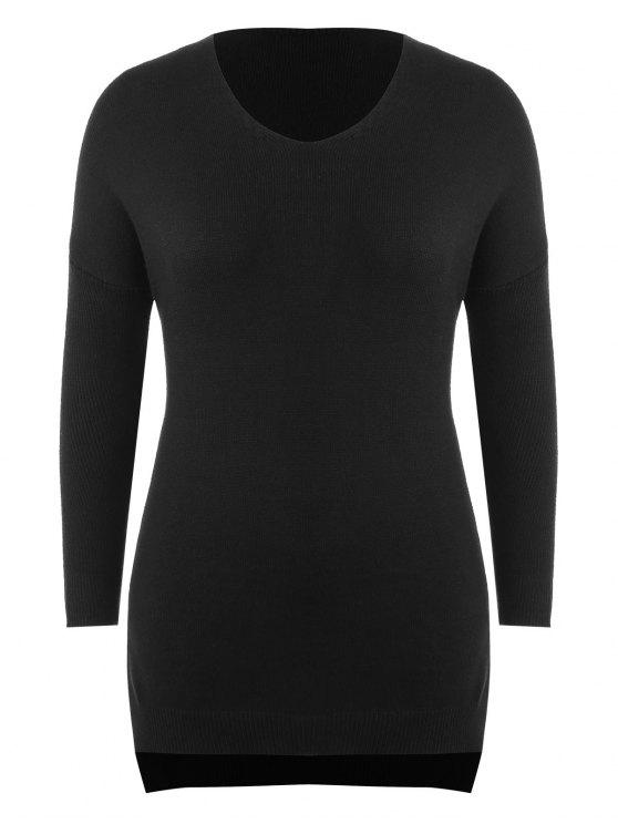 best Plus Size Side Slit Longline Sweater - BLACK 2X