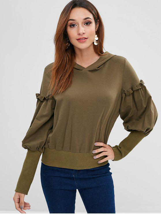 shop ZAFUL Ribbed Trim Frilled Pullover Hoodie - DARK KHAKI S