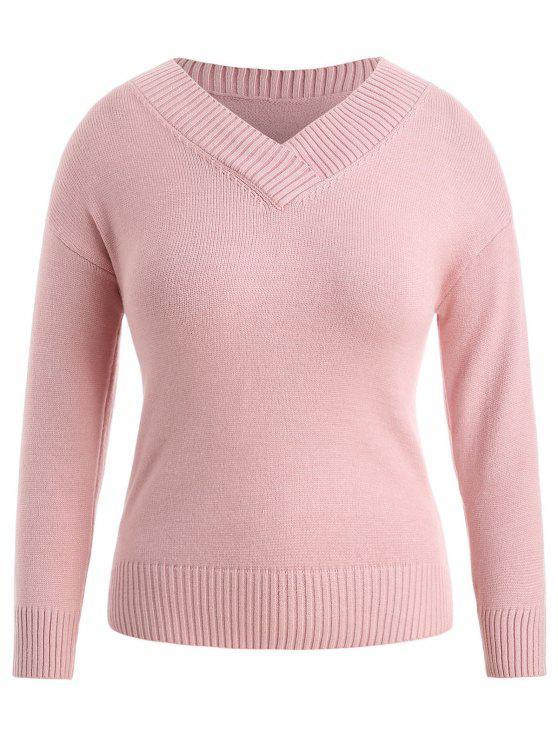 Plain V-Ausschnitt Plus Size Pullover - Pink 2X
