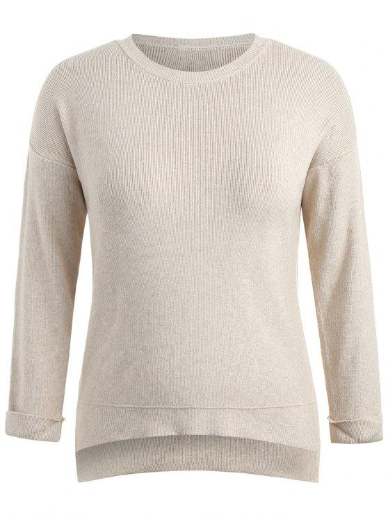 fancy Step Hem Plus Size Sweater - BLANCHED ALMOND 3X