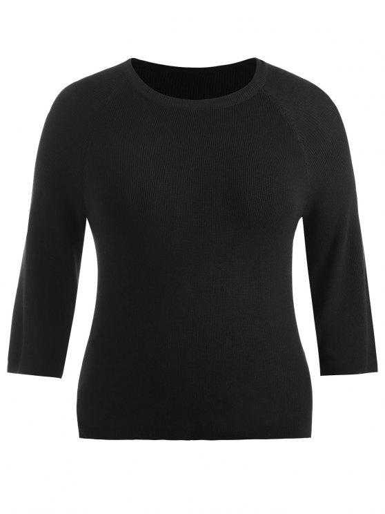 sale Plus Size Side Slit Knitted Sweater - BLACK ONE SIZE