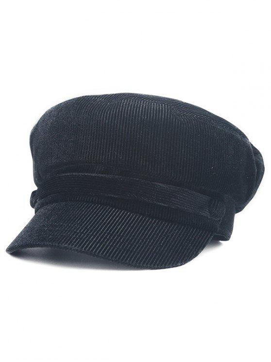 trendy Solid Color Button Army Hat - BLACK