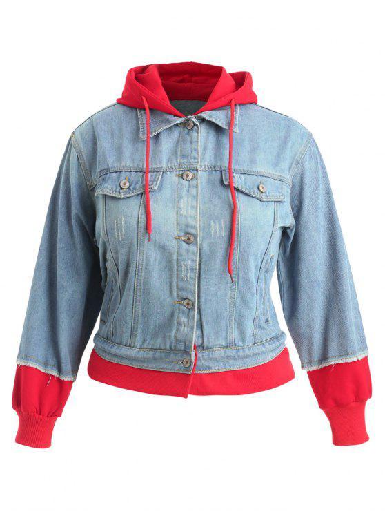 Chaqueta de mezclilla con capucha y ajuste en contraste de tallas grandes - Azul Denim 2X