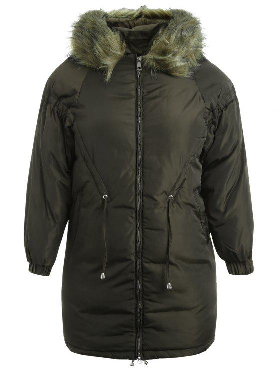 women Plus Size Hooded Quilted Zip Coat - ARMY GREEN 2X