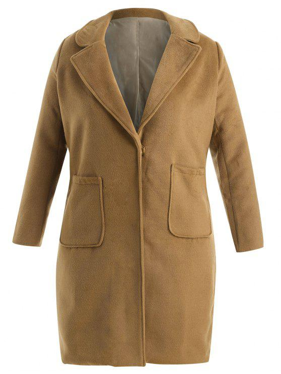 Plus Size Wollmischung Pocket Trench Coat - Hellbraun 2X