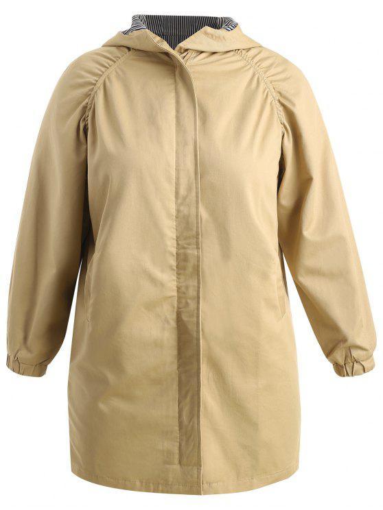 trendy Plus Size Hooded Longline Coat - TAN 5X