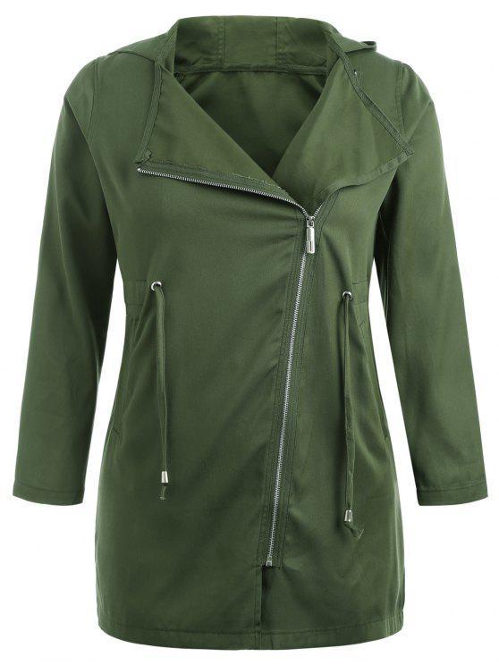 Abrigo con capucha asimétrico con cremallera y tallas grandes - Ejercito Verde 3X