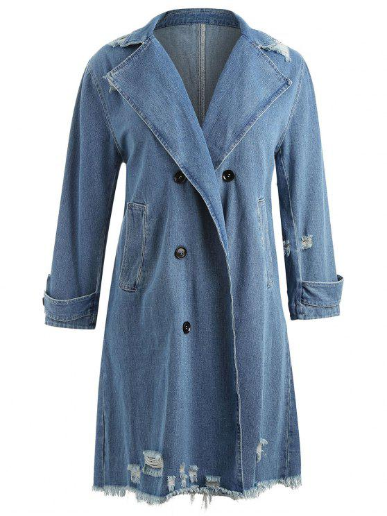 Denim Ripped Plus Size Frayed Midi Coat - Azul Denim 3X