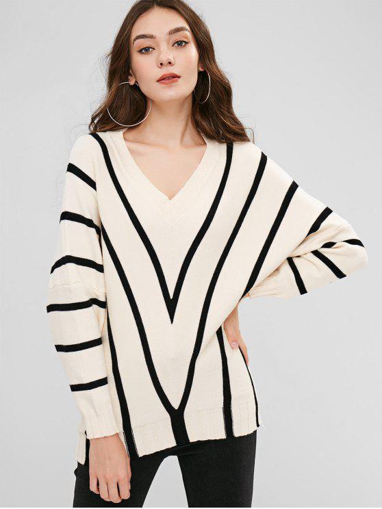 Zig Zag Pullover mit V-Ausschnitt - Cremeweiß Eine Größe