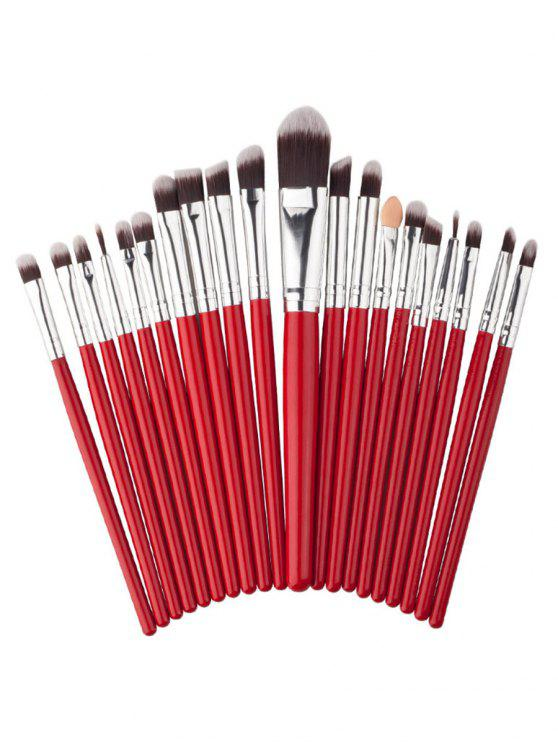 new 20Pcs Fiber Hair Silky Eyeshadow Eyebrow Liquid Foundation Cosmetic Brush Collections - RED