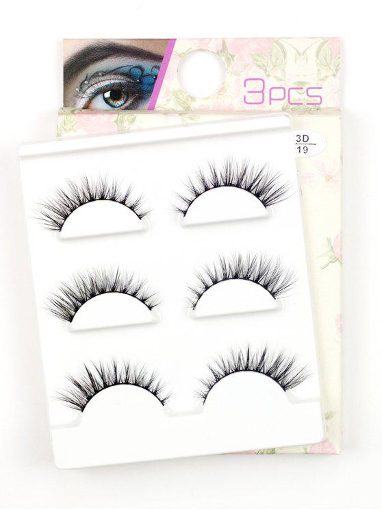 outfits Cosmetic 3 Pair Handmade Volumizing Long Thick False Eyelashes - BLACK