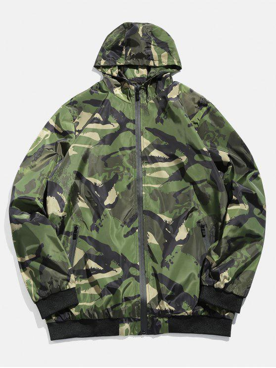 latest Camouflage Zip Casual Jacket - MEDIUM FOREST GREEN XS