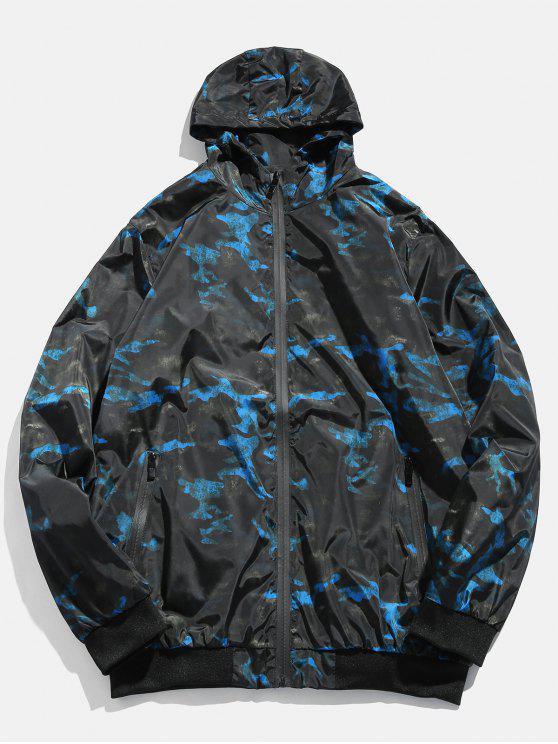 best Camo Zipper Hooded Bomber Jacket - BLUEBERRY BLUE S