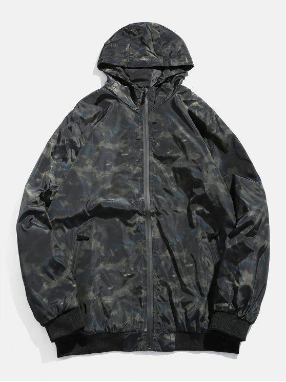 shops Camo Zipper Hooded Bomber Jacket - ARMY GREEN S