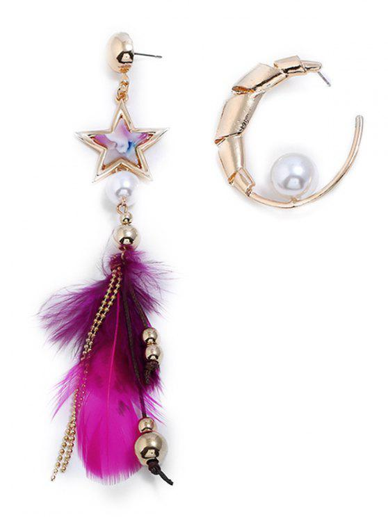 women Asymmetric Metal Star Feathered Beaded Decoration Earrings - GOLD