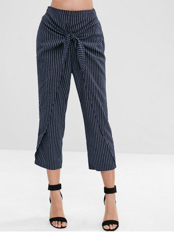 womens ZAFUL Striped Knotted Overlap Pants - DARK SLATE BLUE M