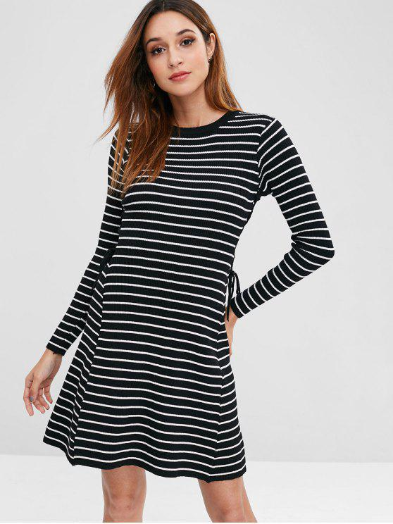 outfits Striped Lace Up Sweater Dress - BLACK ONE SIZE