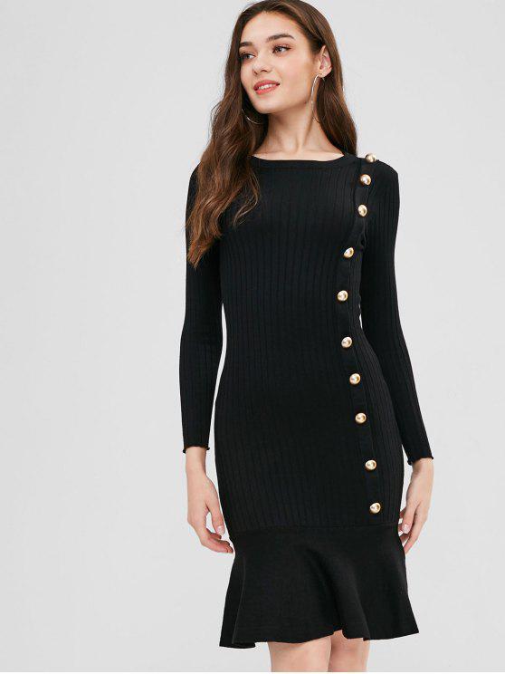 Suéter abotonado vestido de sirena - Negro Talla única