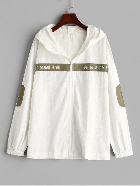 fashion Graphic Elbow Patch Hooded Jacket - WHITE L
