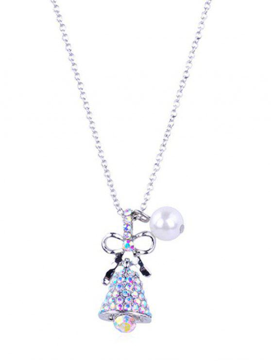 latest Sparkly Rhinestone Christmas Bell  Necklace - SILVER